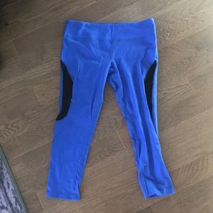 Splits 59 blue cropped leggings black sheer panel
